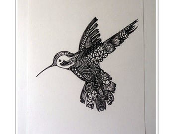 Ltd Edition Hummingbird Ink Drawing - A4 Print