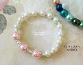 Blush Bracelet-Pink Pearl Bracelet-Pink Bracelet-Bridesmaid Bracelet-Wedding Bracelet-Blush Pearl Bracelet-Blush Ivory Glass Pearl Bracelet