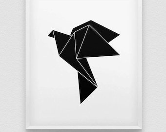 origami bird print // flying bird print // black and white minimalistic wall decor // origami wall decor // minimalistic print // paper bird