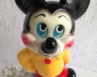 1940's Chalkware Carnival prize ~ mouse piggy bank~ pristine condition ~