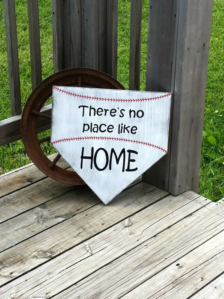 Large Baseball Sign Theres No Place Like Home Wooden