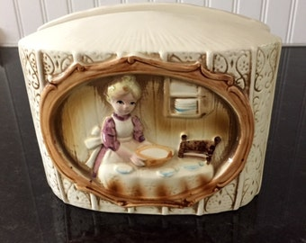 Vintage Suzy Homemaker / Ginghan Pioneer Girl Ceramic Napkin Holder