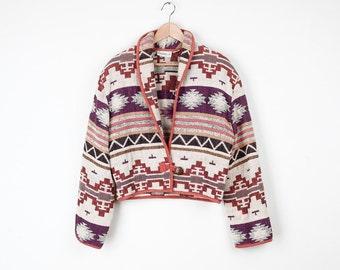 Vintage Southwest Blanket Crop Jacket / Shawl Collar / Thick Cotton / M
