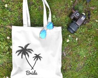 Personalized Beach Tote - Palm Tree Tote - Beach Bag - Natural Cotton - Wedding Tote, Bridesmaid Tote