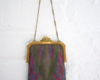 Whiting and Davis Mesh Flapper Purse with original mirror