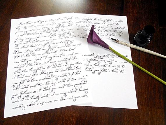 Custom calligraphy love letter handwritten hand