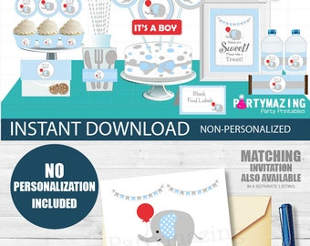Boy Elephant with Red Balloon Baby Shower Set, it's a Boy, Printable EXPRESS Party Package, Instant Download -D439