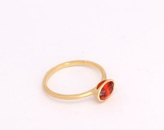Natural Mandarin Garnet ring | Handmade solid 14k gold ring set with a natural mandarin garnet gem