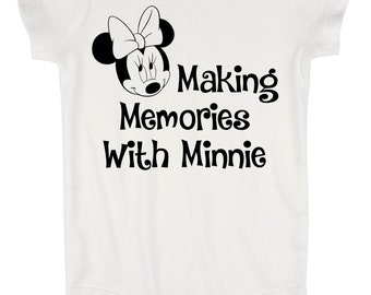 Making Memories With Minnie Mouse Disney Baby Creeper Body Suit with 3 Snap Closure / First Disney Vacation / Baby Disney / Baby Disney Gift