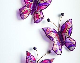 3D butterfly OOAK, Set of 3 butterflies, Stained glass bouquet decor, purple wedding decor, window, nursery wall art, suncatcher fantasy art
