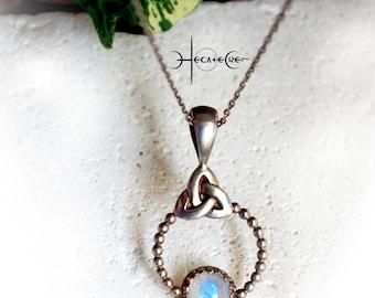 Silver Moonstone Triquetra Necklace, Silver triquetra circle Jewelry, Knotwork Necklace, Silver Celtic Necklace, Celtic Triquetra