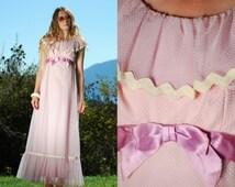 60s 70s Polka Dot Maxi Dress, Vintage Prom Bridesmaid Sheer Lilac Lavender Pink Chevron Dress With Bow, Ruffle Short Sleeve Empire Waist