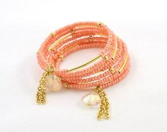 Tropicana Peach Memory Wire Bracelet