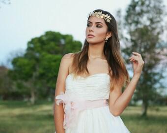 Sample Sale - Gold leaves crown, Gold bridal head piece, Bridal leaves headband, Bridal tiara, Grecian crown, Woodland, Gold bridal crown
