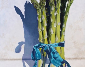 "Asparagus Original Botanical Food Cuisine Painting Acrylic on Canvas 16""x20"""