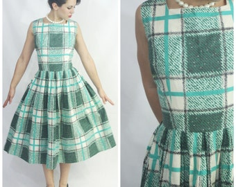 Vintage 50's Summer Cotton Jade White Plaid Picnic Day Dress MR. MIKE of CALIFORNIA Size Large