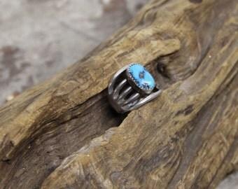 Navajo Split Shank Turquoise Silver Ring Size 9