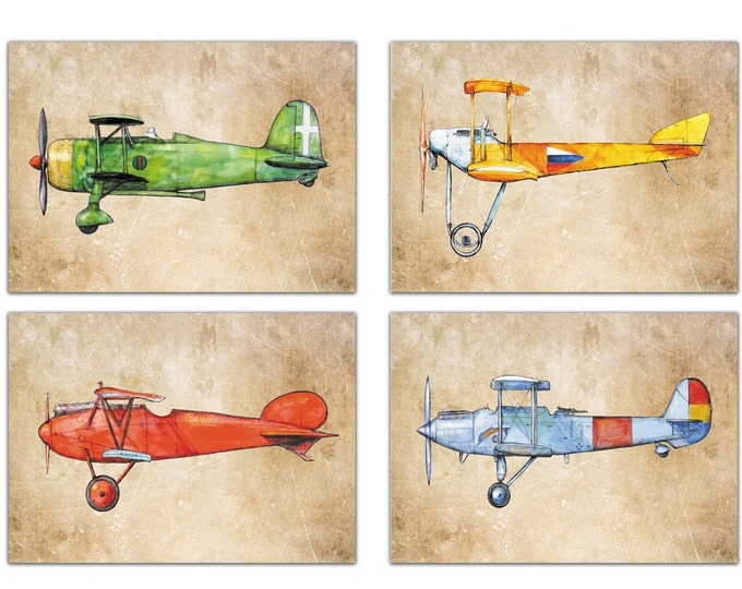 Airplane decor Old paper prints Vintage military airplanes art Set 4 prints Retro airplane Aircrafts on vintage paper Boys nursery wall art