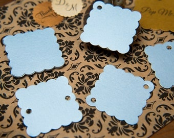 "50 Baby Blue Pearlised 1.5"" Square Luxury Gift Tags, Blank Tag, Wishing Tree Tag, Wedding favour tag, Jewellery Tag, wedding favors 1.5 inch"