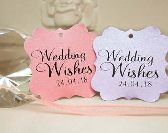 Custom Wishing Tree Tags. Wedding Wishes with date. Blush Pink, Lilac Wedding cards. Square printed favour tags. Pearlised card gift tags