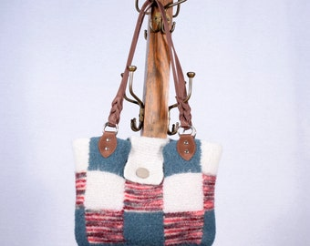 Blue, Red and Grey Checkered Felted Purse with Microfiber Handles