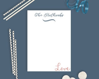 Personalized Wedding Notepads - Pink and Navy - Personalized Notepads - 50 Pages