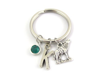 Wolf Keychain- choose a birthstone and initial, Wolf Keyring, Wolf Gift, Wolf Charm, Wolf Birthstone, Wolf Initial Gift, Personalized Wolf