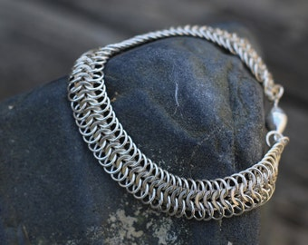 Sterling Silver Bracelet: Chainmail, Handwoven, Stylish Wrist Armor