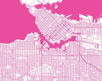 Vancouver Map - Roads - Vancouver Print - City Map Art of Vancouver City, British Columbia, Canada