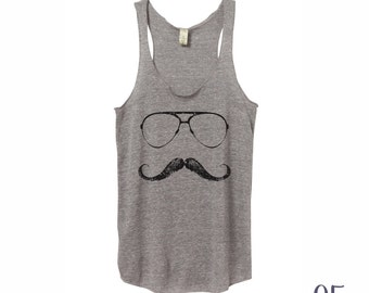 Mustache Tank. Triblend Racerback Tank. Women's Clothing.