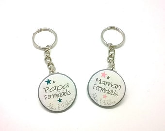 Lot of 2 Keyring 37mm custom - Special dad and MOM Formidable - pink and blue duck