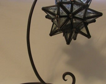 Candleholder and Stand, Star, Brass and Glass, 1970's