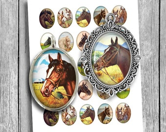 Horse Portraits 22x30mm 30x40mm Oval Images for Cabochons Printable Images Digital Collage Sheet Instant Download