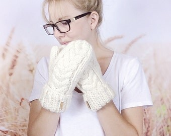 Cable Knit Hand Warmers, Womens Mittens, Winter Mittens, Knitted Mittens, Chunky Knit Mittens, Ladies Mitts, Knitted Mitts - {CREAM}