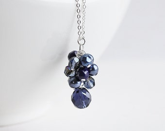Navy Blue Necklace - Dark Blue Beaded Necklace on Silver Plated Chain, Cluster Necklace, Blue Pendant Necklace, Navy Bridesmaid Jewelry