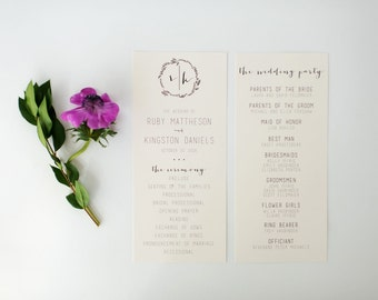 ruby wedding programs (sets of 10)  // monogram laurel wreath calligraphy neutral gray custom romantic wedding program