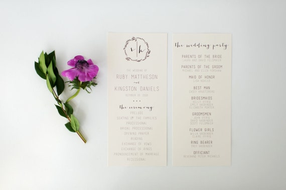 ruby wedding programs (sets of 10)  // lola louie paperie