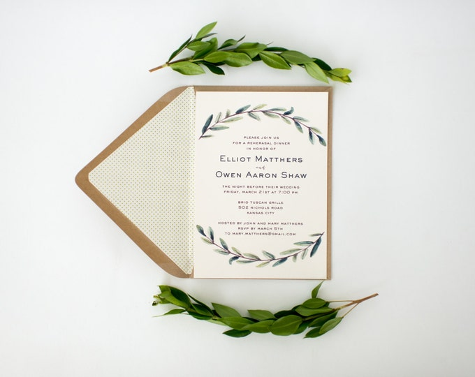 elliot rehearsal dinner invitation (sets of 10)  // winery olive branch watercolor rustic eucalyptus greenery custom modern simple invite