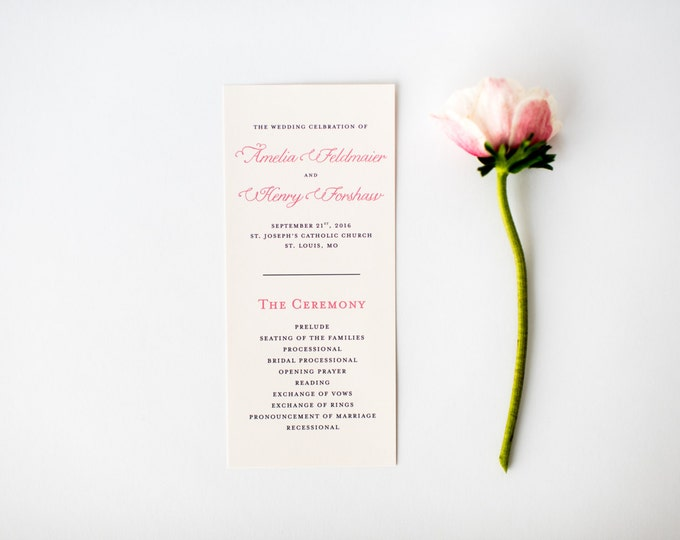 amelia wedding programs (sets of 10)  // classic custom pink navy calligraphy romantic modern