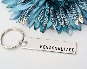 Custom Hand Stamped Keychain | Personalized Keychain Aluminum | Girlfriend Gift | Boyfriend Gift | Personalized Gift