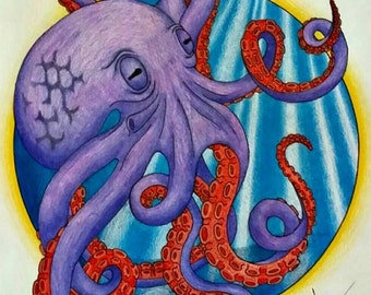 Purple Octopus Print