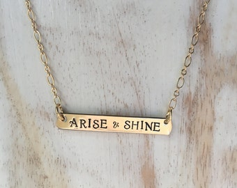 Arise and Shine Isaiah 60:1 Bar Necklace Gold Bar Brass Bar Silver Bar Necklace Gold Statement Necklace Inspirational Necklace
