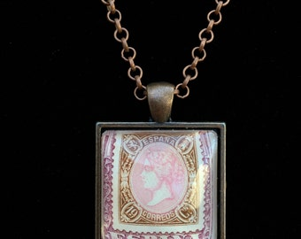 Spanish Postage Stamp Necklace