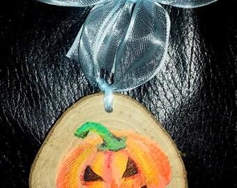 Pumpkin Wooden Halloween Decoration - So Cute! With pretty blue translucent ribbon!