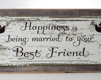 Framed Happiness is Being Married to your Best Friend Metal Sign, Doves, Wedding, Love, Anniversary, Gift HB7627F
