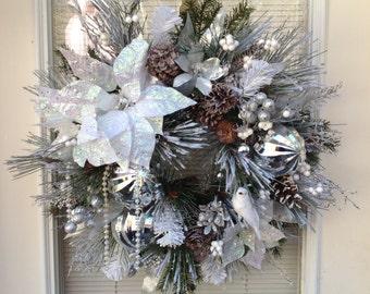 Christmas wreath, winter wreath, natural wreath, silver and white wreath,snow wreath,sparkle wreath,woodland wreath, winter wedding