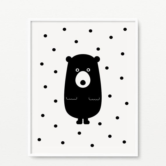 Black And White Nursery Wall Decor : Bear nursery print black and white wall art polka dots
