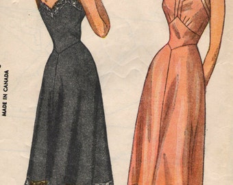 Vintage 1940s Simplicity Sewing Pattern 2220 - Misses' Slip size 12 bust 30