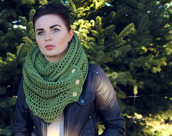 Beautiful Army Green Colored Infinity Scarf with Buttons