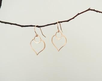 Rose Gold Lotus Earrings, Large Rose Gold Earrings, Lotus Petal Earrings